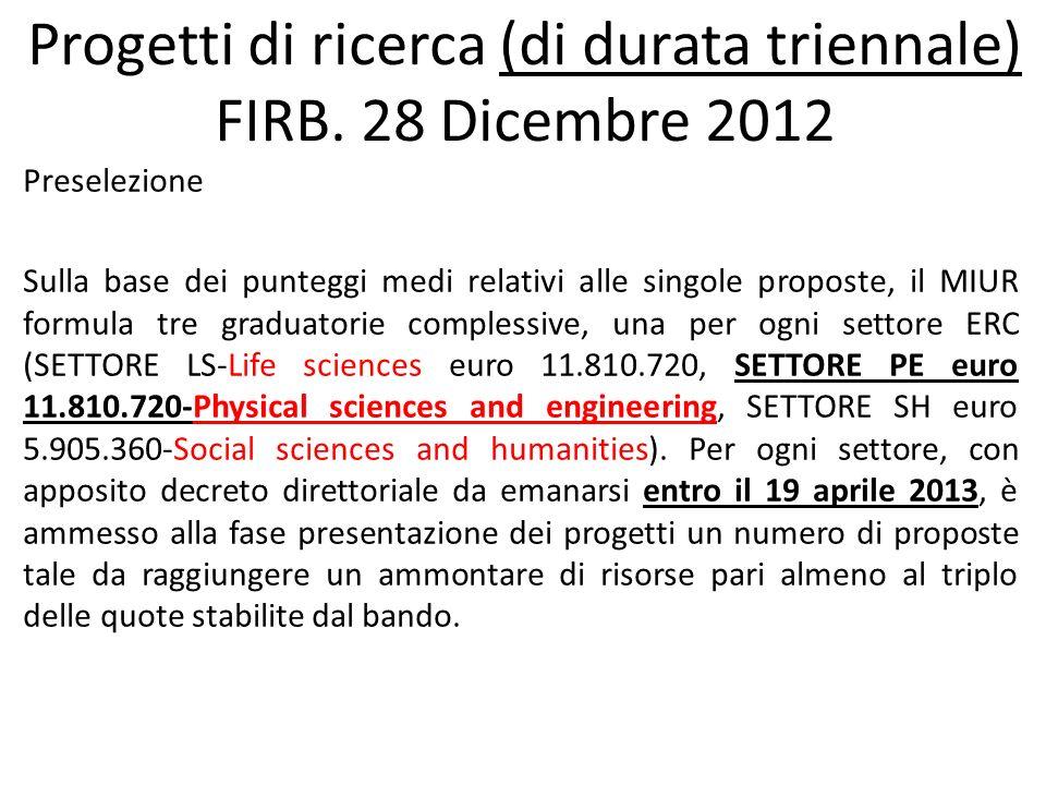 Progetti di ricerca (di durata triennale) FIRB.