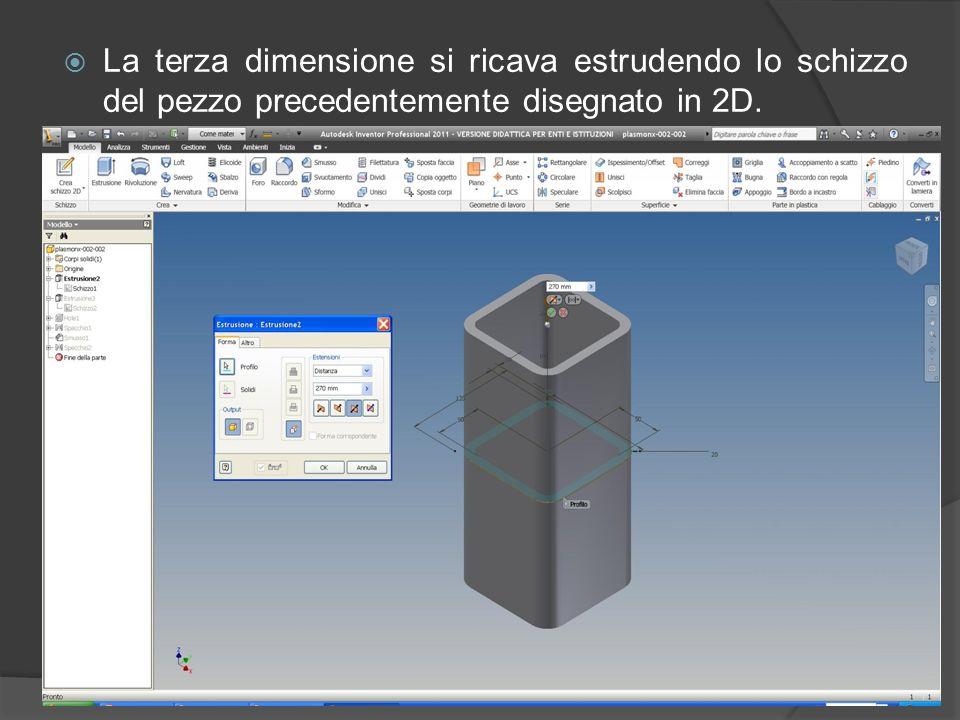 Per realizzare un modello 3D, si parte da uno schizzo 2D:
