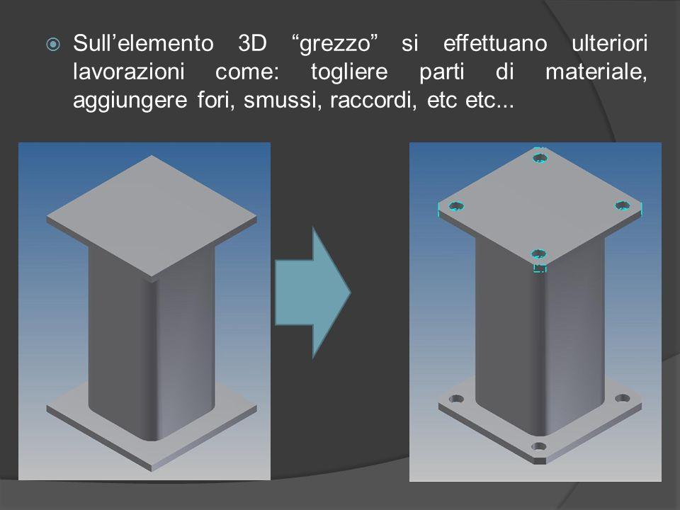 La terza dimensione si ricava estrudendo lo schizzo del pezzo precedentemente disegnato in 2D.