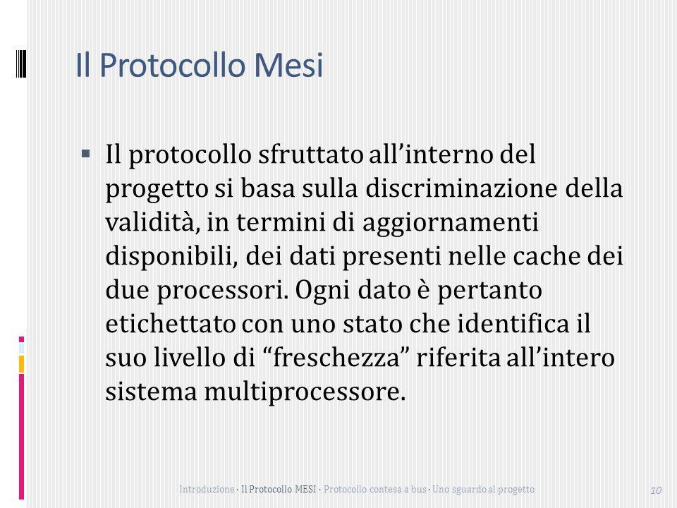 Introduzione Il Protocollo MESI Protocollo contesa a bus Uno sguardo al progetto 10 Il Protocollo Mesi Il protocollo sfruttato allinterno del progetto si basa sulla discriminazione della validità, in termini di aggiornamenti disponibili, dei dati presenti nelle cache dei due processori.