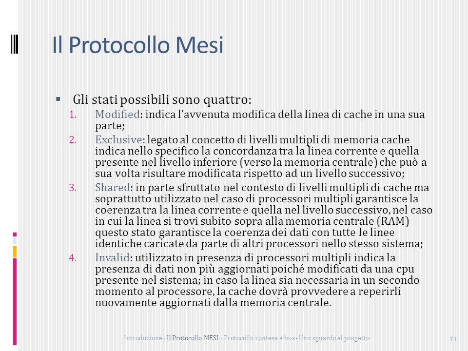 Introduzione Il Protocollo MESI Protocollo contesa a bus Uno sguardo al progetto 11 Il Protocollo Mesi Gli stati possibili sono quattro: 1.