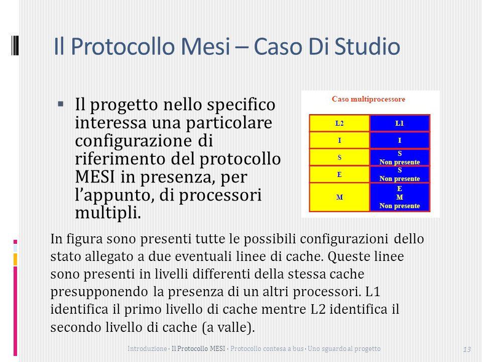 Introduzione Il Protocollo MESI Protocollo contesa a bus Uno sguardo al progetto 13 Il Protocollo Mesi – Caso Di Studio Il progetto nello specifico interessa una particolare configurazione di riferimento del protocollo MESI in presenza, per lappunto, di processori multipli.