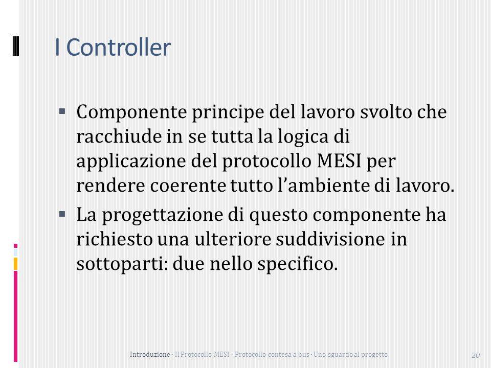 Introduzione Il Protocollo MESI Protocollo contesa a bus Uno sguardo al progetto 20 I Controller Componente principe del lavoro svolto che racchiude in se tutta la logica di applicazione del protocollo MESI per rendere coerente tutto lambiente di lavoro.
