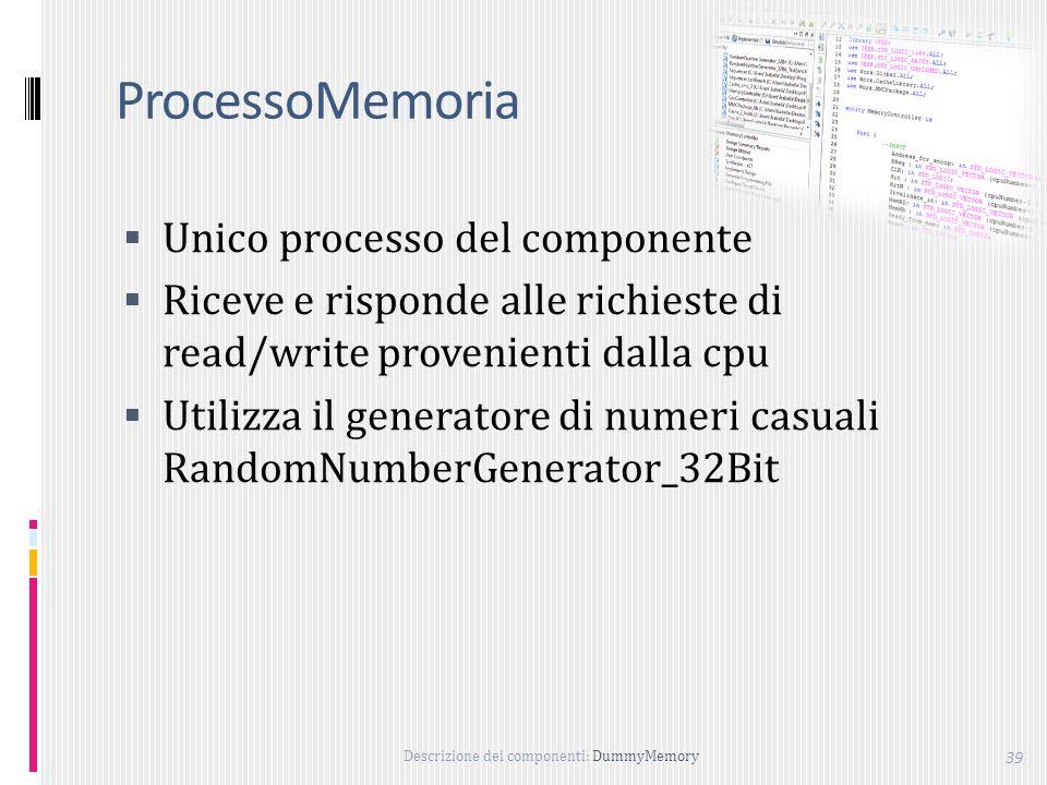 Descrizione dei componenti: DummyMemory 39 ProcessoMemoria Unico processo del componente Riceve e risponde alle richieste di read/write provenienti dalla cpu Utilizza il generatore di numeri casuali RandomNumberGenerator_32Bit