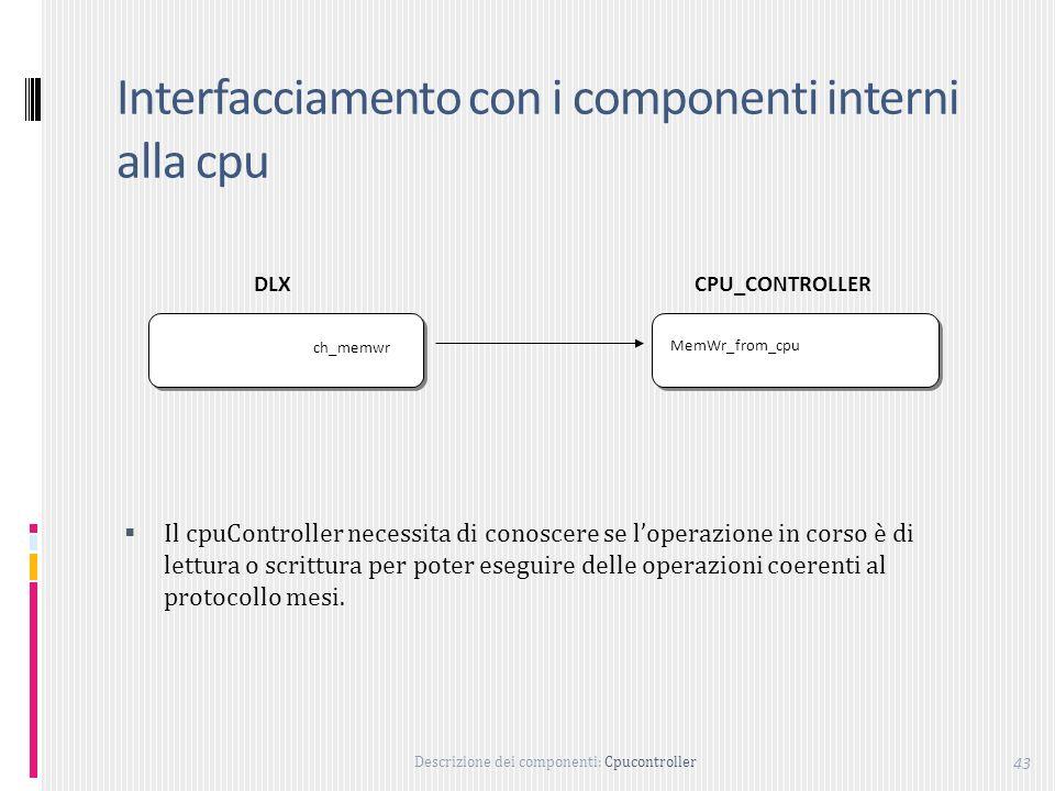 Descrizione dei componenti: Cpucontroller 43 Interfacciamento con i componenti interni alla cpu MemWr_from_cpu ch_memwr DLXCPU_CONTROLLER Il cpuController necessita di conoscere se loperazione in corso è di lettura o scrittura per poter eseguire delle operazioni coerenti al protocollo mesi.