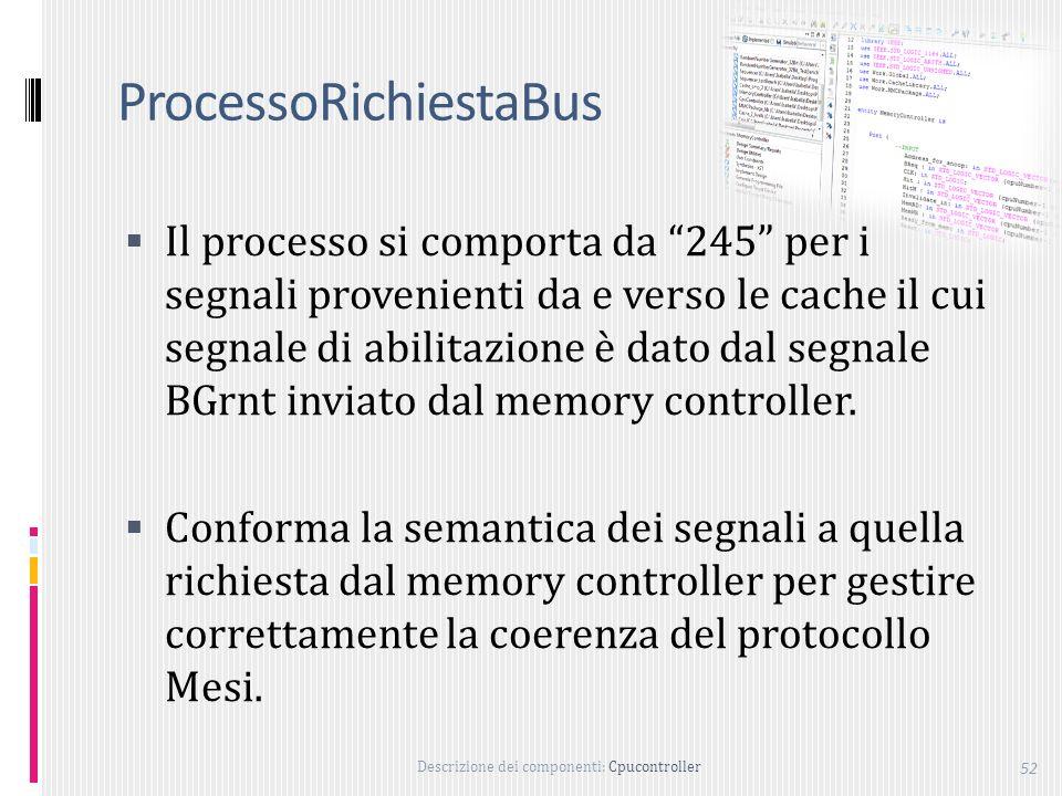 Descrizione dei componenti: Cpucontroller 52 ProcessoRichiestaBus Il processo si comporta da 245 per i segnali provenienti da e verso le cache il cui segnale di abilitazione è dato dal segnale BGrnt inviato dal memory controller.