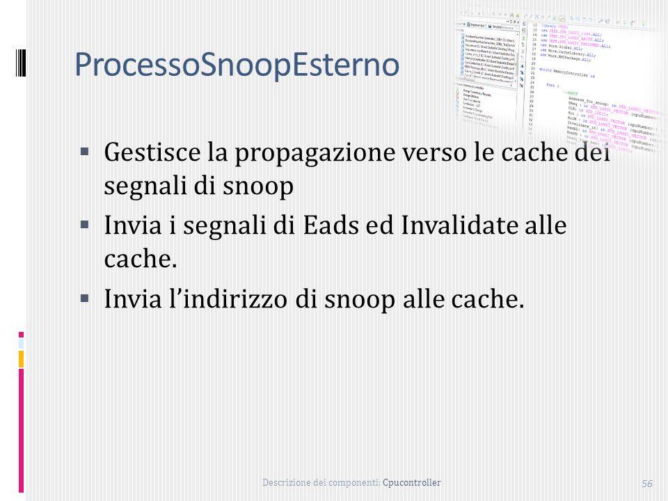 Descrizione dei componenti: Cpucontroller 56 ProcessoSnoopEsterno Gestisce la propagazione verso le cache dei segnali di snoop Invia i segnali di Eads ed Invalidate alle cache.