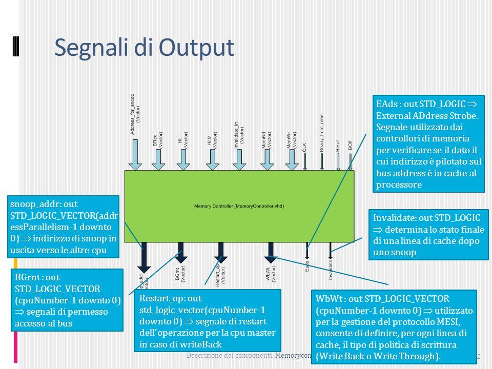 Descrizione dei componenti: Memorycontroller 61 Segnali di Output snoop_addr: out STD_LOGIC_VECTOR(addr essParallelism-1 downto 0) indirizzo di snoop in uscita verso le altre cpu BGrnt : out STD_LOGIC_VECTOR (cpuNumber-1 downto 0) segnali di permesso accesso al bus Invalidate: out STD_LOGIC determina lo stato finale di una linea di cache dopo uno snoop EAds : out STD_LOGIC External ADdress Strobe.