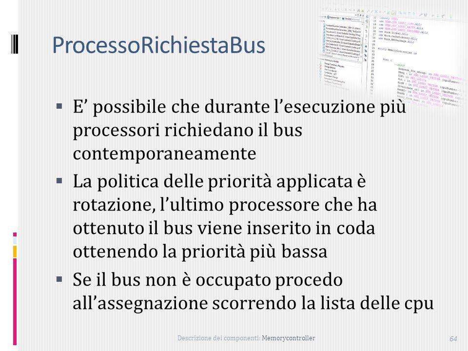 Descrizione dei componenti: Memorycontroller 64 ProcessoRichiestaBus E possibile che durante lesecuzione più processori richiedano il bus contemporaneamente La politica delle priorità applicata è rotazione, lultimo processore che ha ottenuto il bus viene inserito in coda ottenendo la priorità più bassa Se il bus non è occupato procedo allassegnazione scorrendo la lista delle cpu