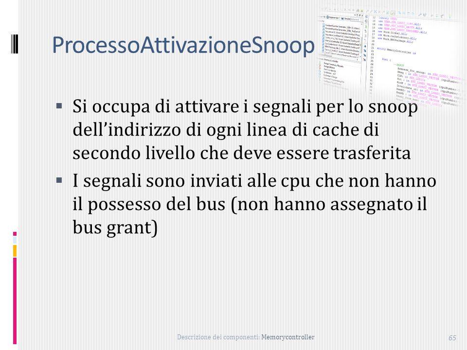 Descrizione dei componenti: Memorycontroller 65 ProcessoAttivazioneSnoop Si occupa di attivare i segnali per lo snoop dellindirizzo di ogni linea di cache di secondo livello che deve essere trasferita I segnali sono inviati alle cpu che non hanno il possesso del bus (non hanno assegnato il bus grant)