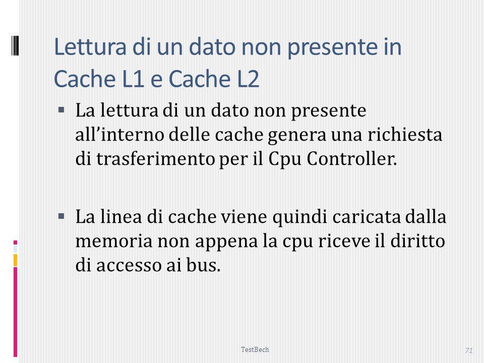 TestBech 71 Lettura di un dato non presente in Cache L1 e Cache L2 La lettura di un dato non presente allinterno delle cache genera una richiesta di trasferimento per il Cpu Controller.