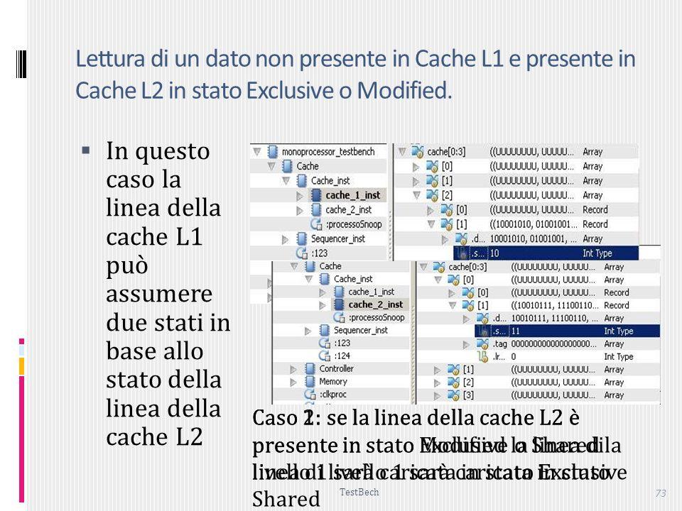 TestBech 73 Caso 2: se la linea della cache L2 è presente in stato Modified la linea di livello 1 sarà caricata in stato Exclusive Lettura di un dato non presente in Cache L1 e presente in Cache L2 in stato Exclusive o Modified.