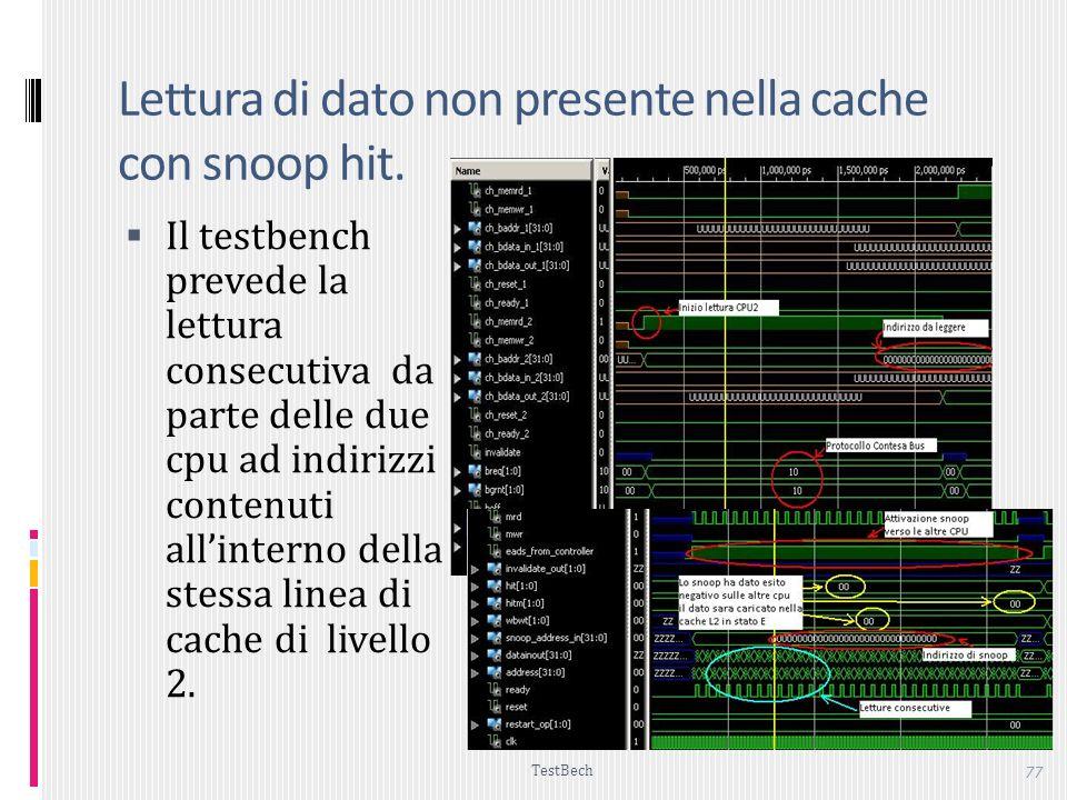 TestBech 77 Lettura di dato non presente nella cache con snoop hit.