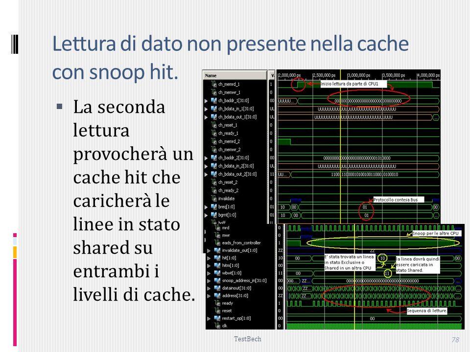 TestBech 78 Lettura di dato non presente nella cache con snoop hit.