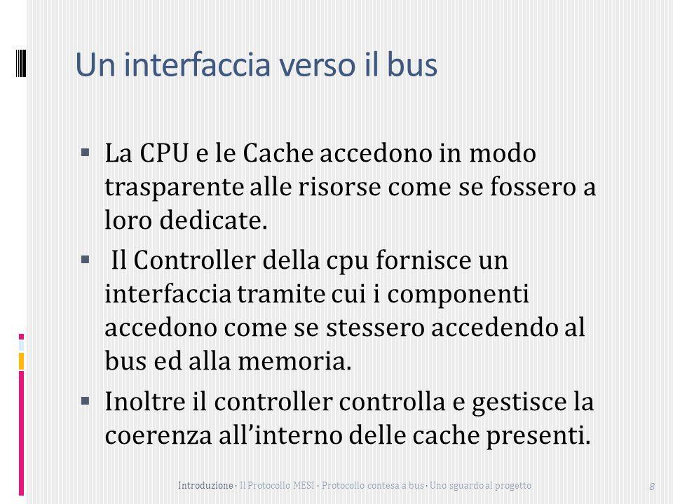 Introduzione Il Protocollo MESI Protocollo contesa a bus Uno sguardo al progetto 8 Un interfaccia verso il bus La CPU e le Cache accedono in modo trasparente alle risorse come se fossero a loro dedicate.