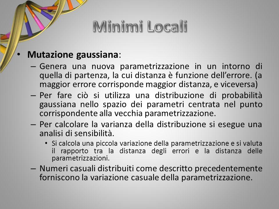 Mutazione gaussiana: – Genera una nuova parametrizzazione in un intorno di quella di partenza, la cui distanza è funzione dellerrore. (a maggior error
