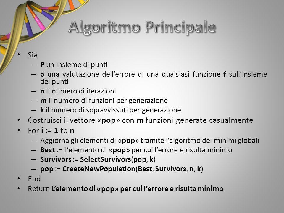 Sia – P un insieme di punti – e una valutazione dellerrore di una qualsiasi funzione f sullinsieme dei punti – n il numero di iterazioni – m il numero