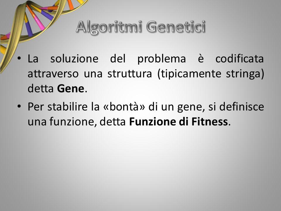 La soluzione del problema è codificata attraverso una struttura (tipicamente stringa) detta Gene. Per stabilire la «bontà» di un gene, si definisce un