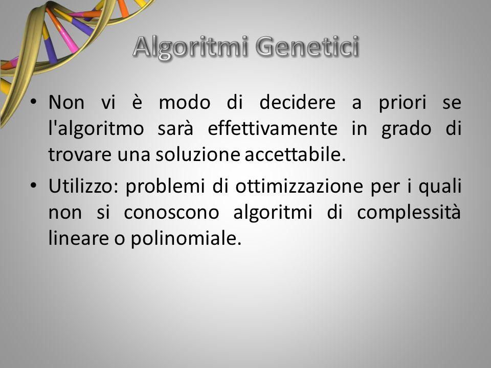 Non vi è modo di decidere a priori se l'algoritmo sarà effettivamente in grado di trovare una soluzione accettabile. Utilizzo: problemi di ottimizzazi