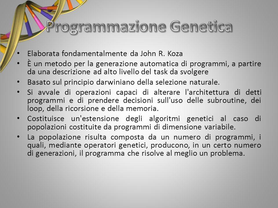 Elaborata fondamentalmente da John R. Koza È un metodo per la generazione automatica di programmi, a partire da una descrizione ad alto livello del ta
