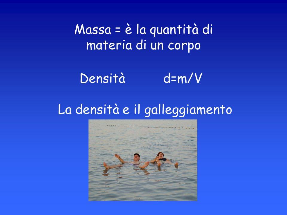 Densità d=m/V La densità e il galleggiamento Massa = è la quantità di materia di un corpo