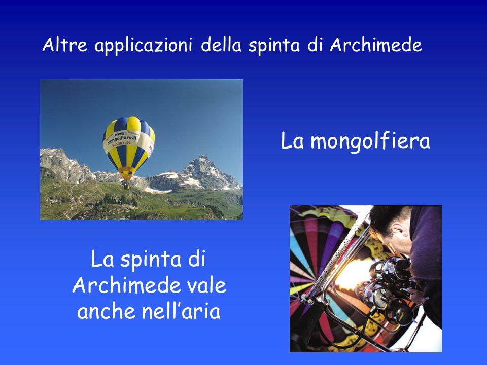 Altre applicazioni della spinta di Archimede La mongolfiera La spinta di Archimede vale anche nellaria