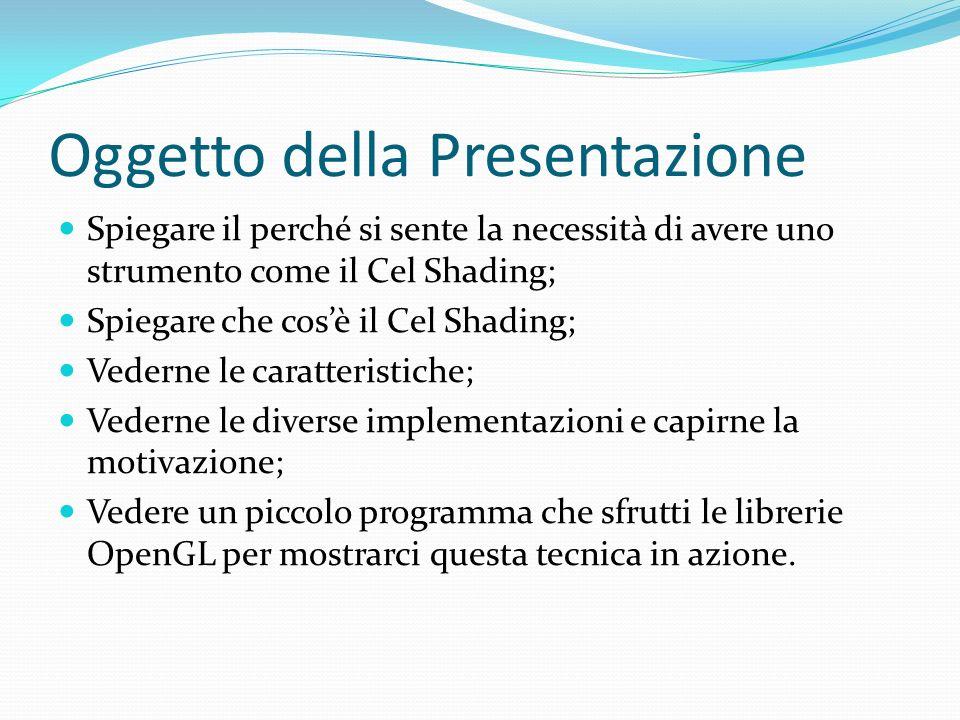 Oggetto della Presentazione Spiegare il perché si sente la necessità di avere uno strumento come il Cel Shading; Spiegare che cosè il Cel Shading; Ved