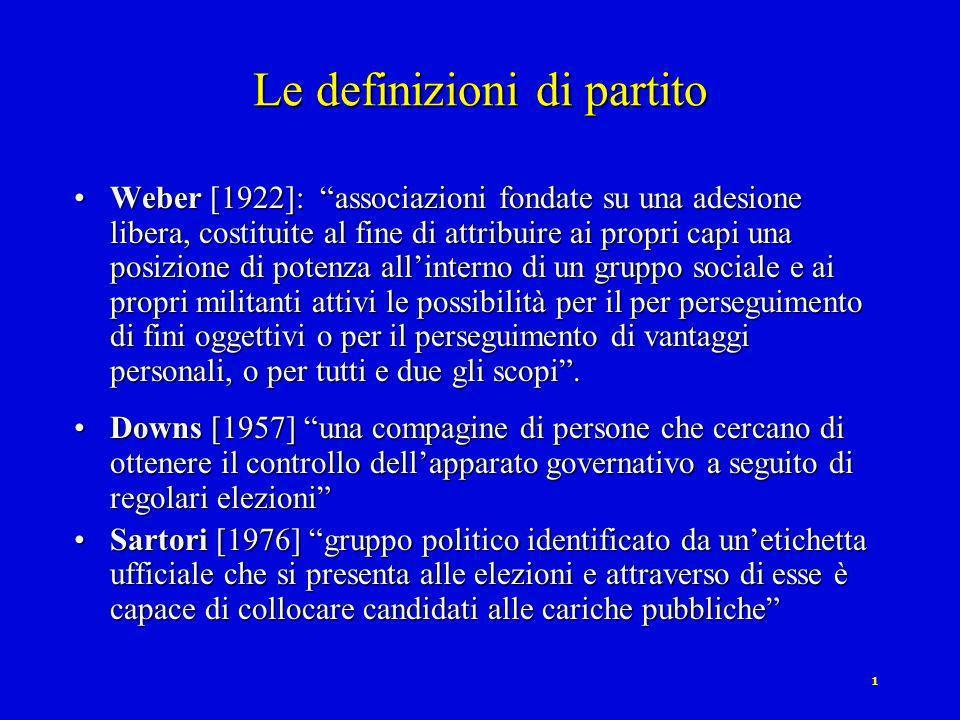 1 Le definizioni di partito Weber [1922]: associazioni fondate su una adesione libera, costituite al fine di attribuire ai propri capi una posizione di potenza allinterno di un gruppo sociale e ai propri militanti attivi le possibilità per il per perseguimento di fini oggettivi o per il perseguimento di vantaggi personali, o per tutti e due gli scopi.Weber [1922]: associazioni fondate su una adesione libera, costituite al fine di attribuire ai propri capi una posizione di potenza allinterno di un gruppo sociale e ai propri militanti attivi le possibilità per il per perseguimento di fini oggettivi o per il perseguimento di vantaggi personali, o per tutti e due gli scopi.