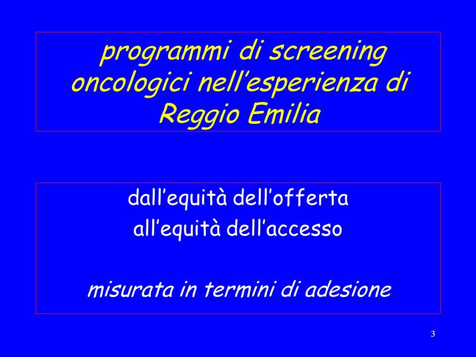 3 programmi di screening oncologici nellesperienza di Reggio Emilia dallequità dellofferta allequità dellaccesso misurata in termini di adesione