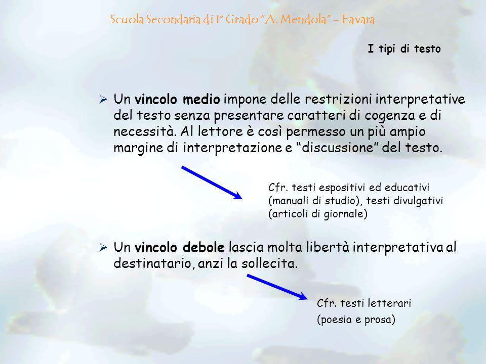 I tipi di testo Un vincolo medio impone delle restrizioni interpretative del testo senza presentare caratteri di cogenza e di necessità. Al lettore è