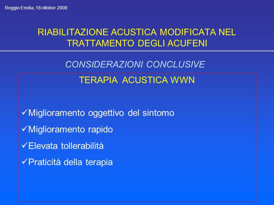 RIABILITAZIONE ACUSTICA MODIFICATA NEL TRATTAMENTO DEGLI ACUFENI CONSIDERAZIONI CONCLUSIVE TERAPIA ACUSTICA WWN Miglioramento oggettivo del sintomo Miglioramento rapido Elevata tollerabilità Praticità della terapia Reggio Emilia, 18 ottobre 2008