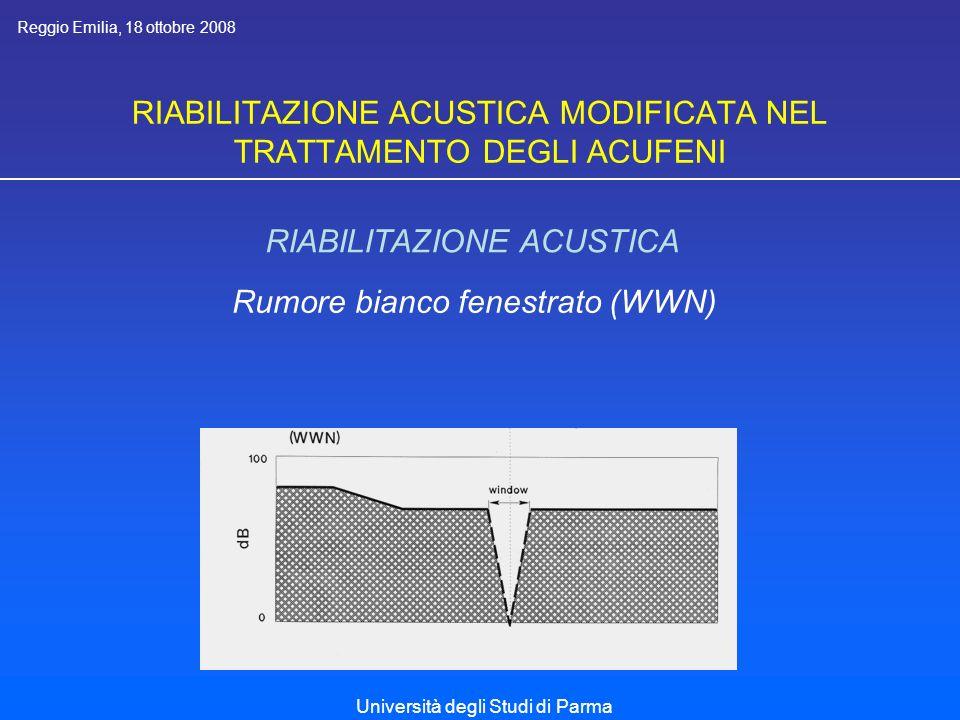 RIABILITAZIONE ACUSTICA MODIFICATA NEL TRATTAMENTO DEGLI ACUFENI RIABILITAZIONE ACUSTICA OBIETTIVI (1) - Effetto distrattivo Rumore neutro ad elevata tollerabilità Reggio Emilia, 18 ottobre 2008 Università degli Studi di Parma