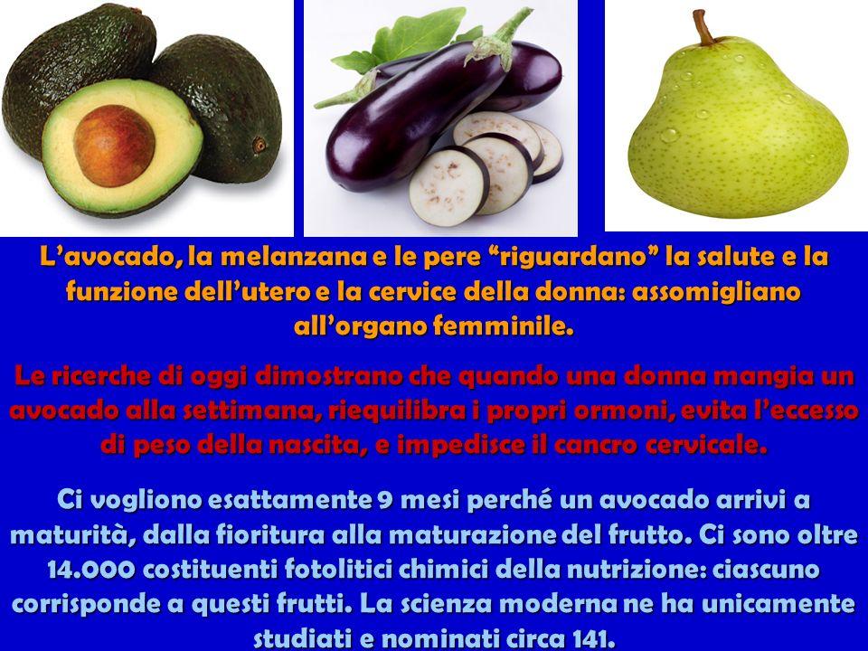 Lavocado, la melanzana e le pere riguardano la salute e la funzione dellutero e la cervice della donna: assomigliano allorgano femminile.
