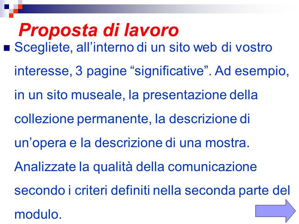 Proposta di lavoro Scegliete, allinterno di un sito web di vostro interesse, 3 pagine significative.