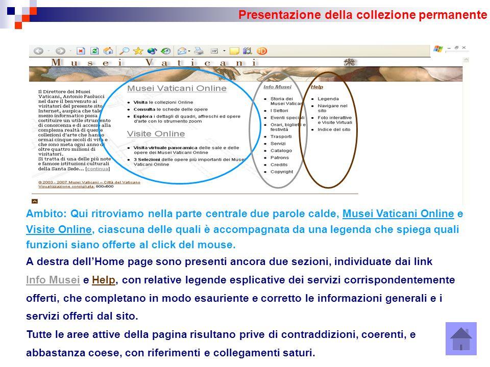 Presentazione della collezione permanente Ambito: Qui ritroviamo nella parte centrale due parole calde, Musei Vaticani Online e Visite Online, ciascuna delle quali è accompagnata da una legenda che spiega quali funzioni siano offerte al click del mouse.