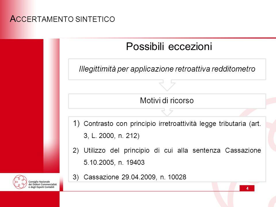 4 A CCERTAMENTO SINTETICO 1) Contrasto con principio irretroattività legge tributaria (art.
