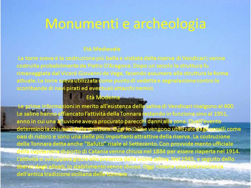Monumenti e archeologia Età Medievale La torre sveva è la costruzione più bella e visitata della riserva di Vendicari; venne costruita probabilmente d