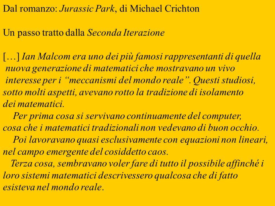 Dal romanzo: Jurassic Park, di Michael Crichton Un passo tratto dalla Seconda Iterazione […] Ian Malcom era uno dei più famosi rappresentanti di quell