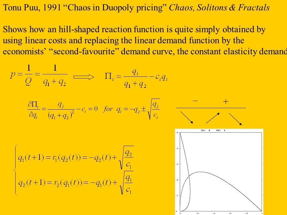Tonu Puu, 1991 Chaos in Duopoly pricing Chaos, Solitons & Fractals Shows how an hill-shaped reaction function is quite simply obtained by using linear
