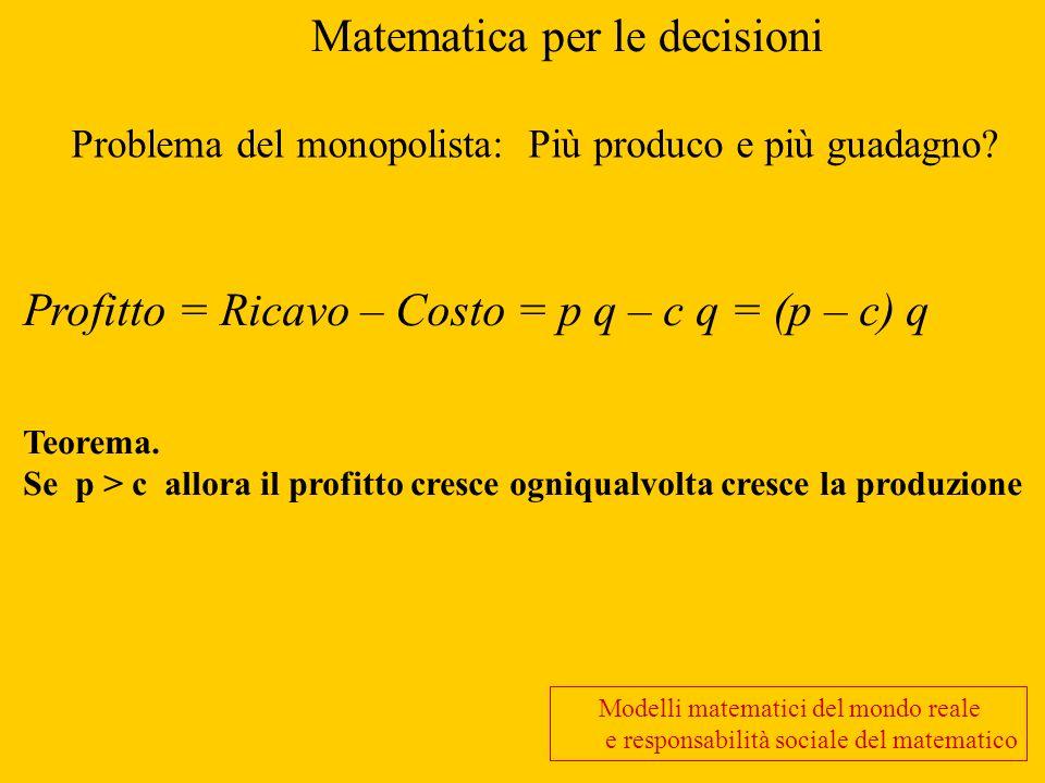Matematica per le decisioni Problema del monopolista: Più produco e più guadagno? Profitto = Ricavo – Costo = p q – c q = (p – c) q Teorema. Se p > c