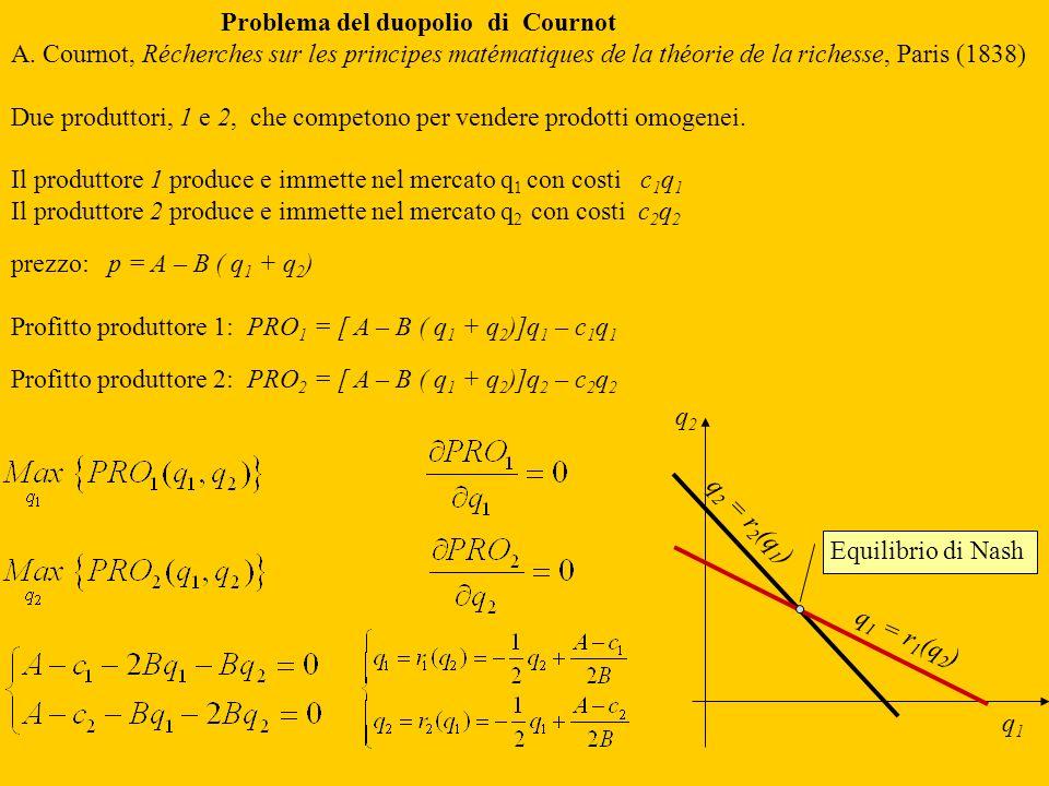 Problema del duopolio di Cournot A. Cournot, Récherches sur les principes matématiques de la théorie de la richesse, Paris (1838) Due produttori, 1 e