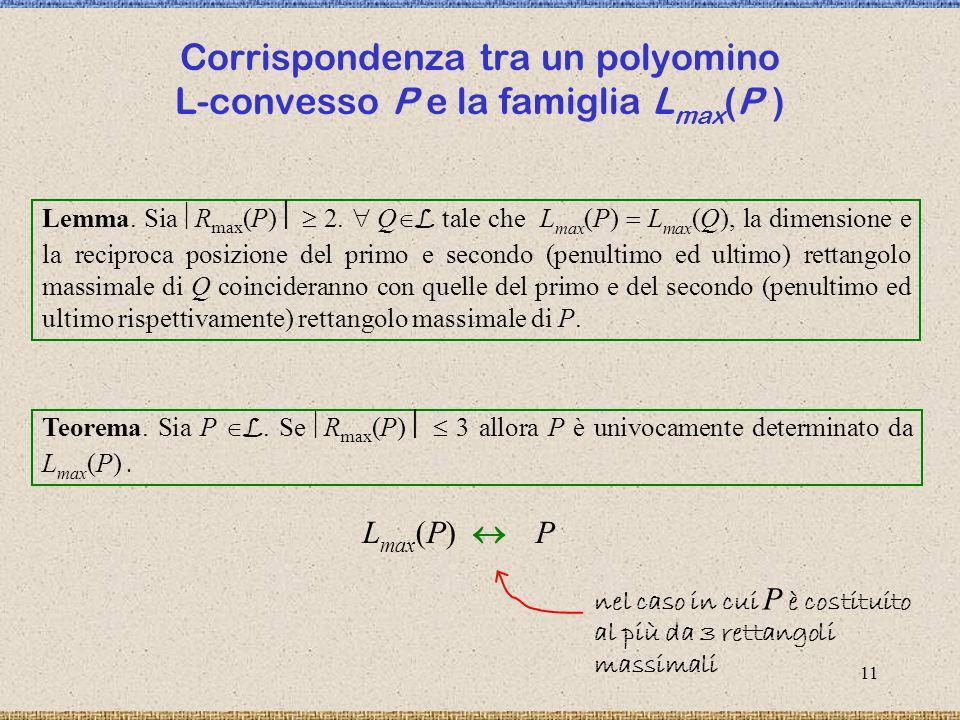 12 Controesempio Questo esempio considera due polyomini L-convessi distinti, con più di tre rettangoli massimali, aventi lo stesso insieme di L-cammini massimali riportato in tabella.