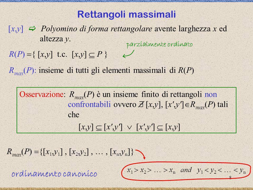 9 rettangoli in posizione non crossing rettangoli in posizione crossing Rettangoli non confrontabili in posizione crossing Teorema: Un polyomino convesso P è un L-convesso se e solo se i suoi rettangoli massimali hanno a due a due una posizione crossing in P.
