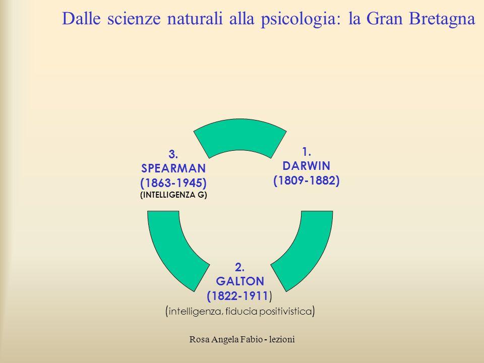 Rosa Angela Fabio - lezioni Dalle scienze naturali alla psicologia: la Gran Bretagna 1. DARWIN (1809-1882) 2. GALTON (1822-1911 ) (intelligenza, fiduc