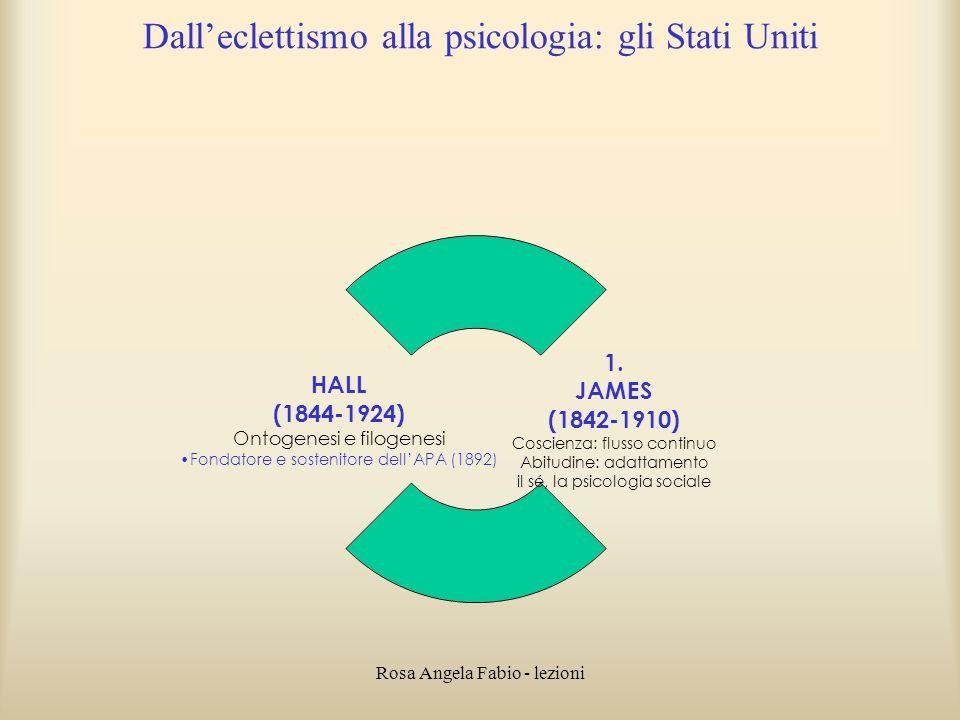 Rosa Angela Fabio - lezioni Dalleclettismo alla psicologia: gli Stati Uniti 1. JAMES (1842-1910) Coscienza: flusso continuo Abitudine: adattamento il
