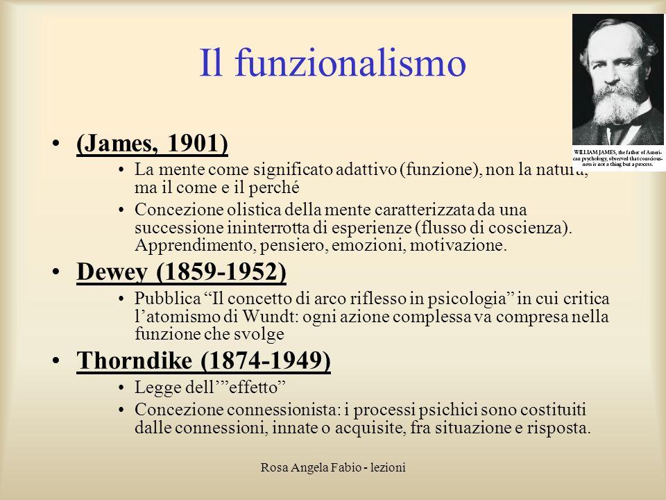 Rosa Angela Fabio - lezioni Il funzionalismo (James, 1901) La mente come significato adattivo (funzione), non la natura, ma il come e il perché Concez