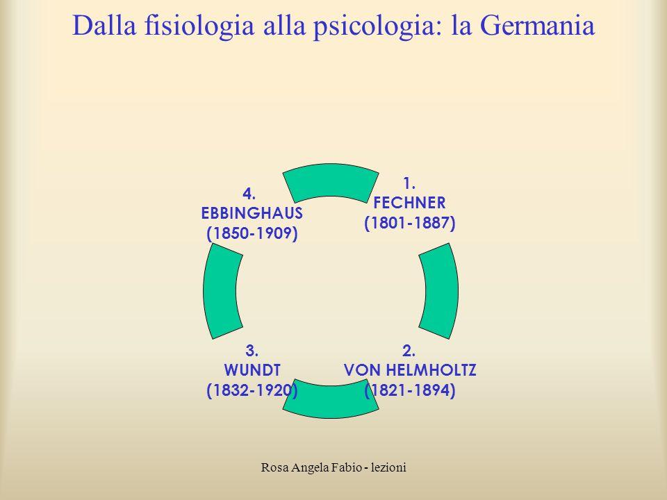 Rosa Angela Fabio - lezioni Dalla fisiologia alla psicologia: la Germania 1. FECHNER (1801-1887) 2. VON HELMHOLTZ (1821-1894) 3. WUNDT (1832-1920) 4.