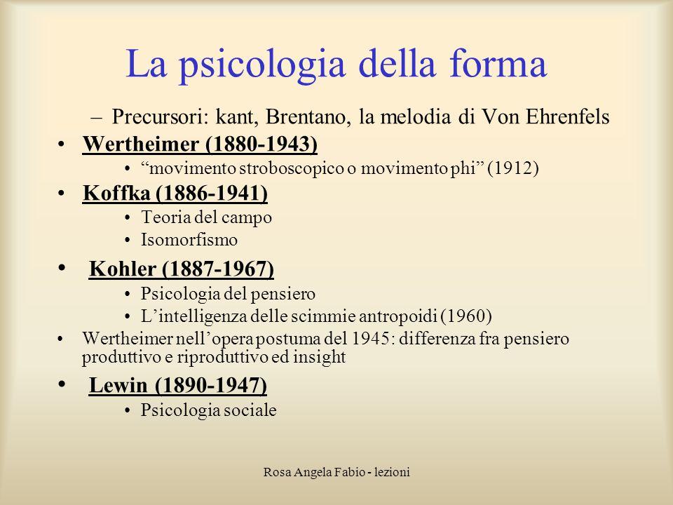 Rosa Angela Fabio - lezioni La psicologia della forma –Precursori: kant, Brentano, la melodia di Von Ehrenfels Wertheimer (1880-1943) movimento strobo