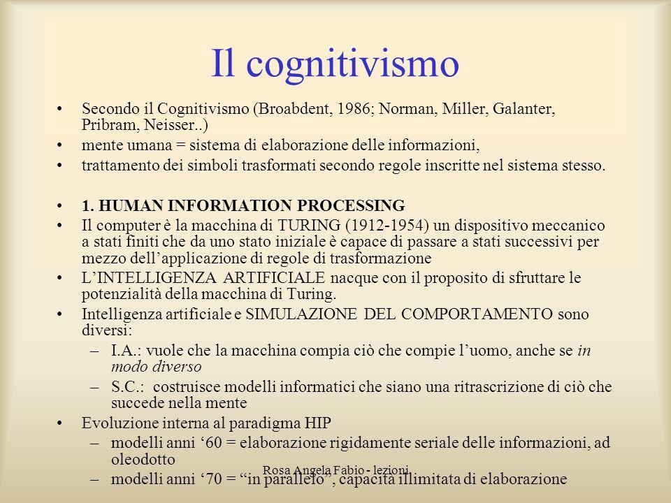 Rosa Angela Fabio - lezioni Il cognitivismo Secondo il Cognitivismo (Broabdent, 1986; Norman, Miller, Galanter, Pribram, Neisser..) mente umana = sist