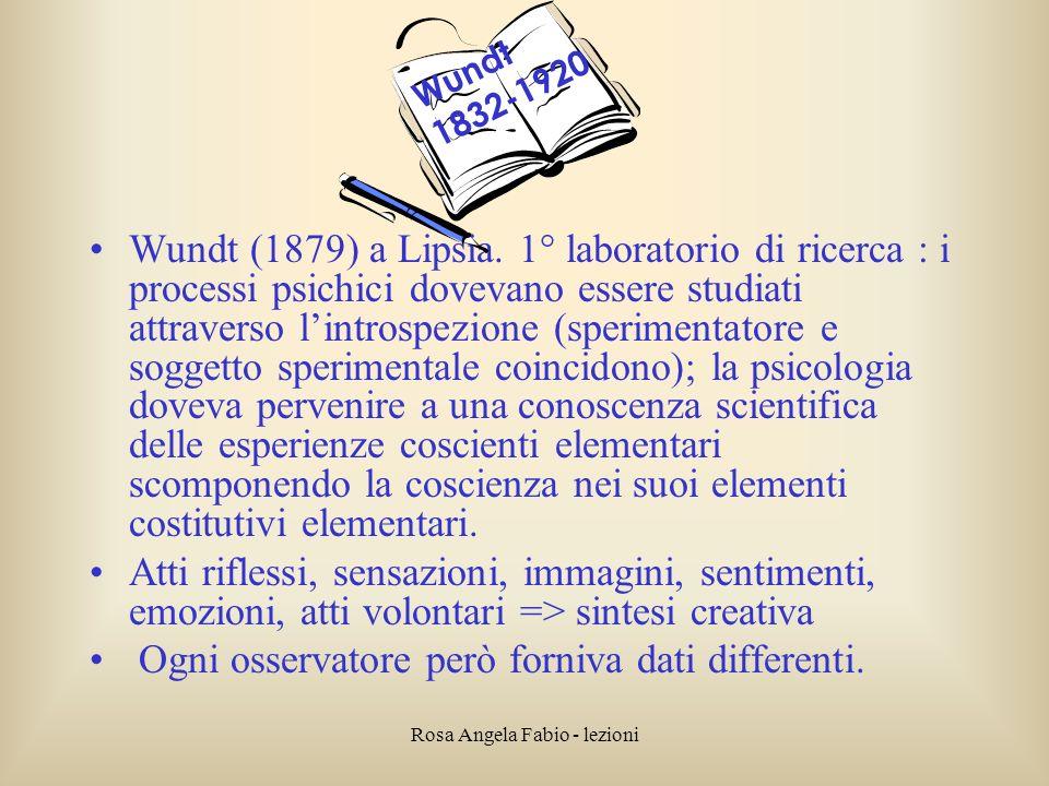 Rosa Angela Fabio - lezioni Wundt (1879) a Lipsia. 1° laboratorio di ricerca : i processi psichici dovevano essere studiati attraverso lintrospezione
